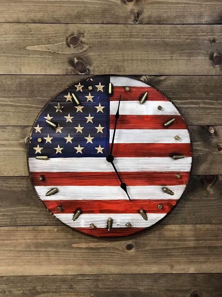 Rustic American Flag Clock Patriotic Flag Bullet Clock Etsy American Flag Wood Rustic American Flag American Flag Painting