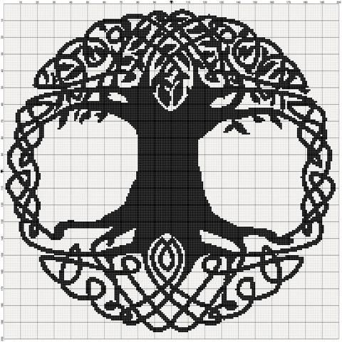Filet Crochet Pattern Celtic Tree van MoWeHappy op Etsy                                                                                                                                                      More
