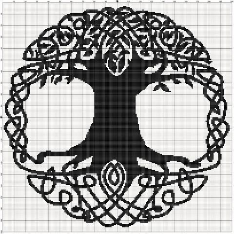Filet Crochet Pattern Celtic Tree van MoWeHappy op Etsy