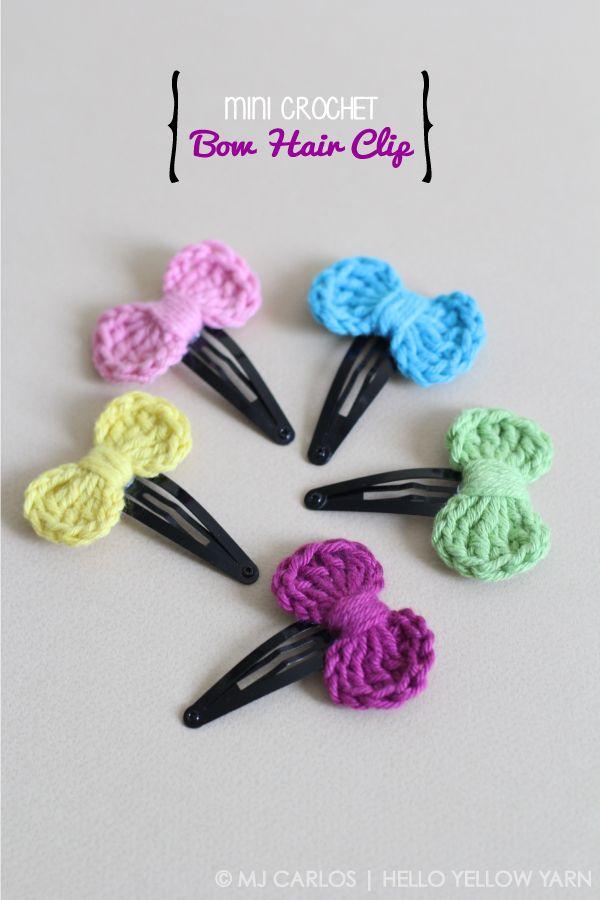 Mini moña o lazo a crochet para adornar las horquillas.