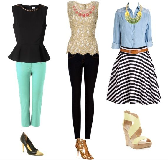 love the skirt aand shirt look How to wear trends for pear shapes