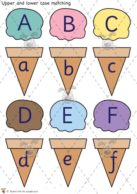 Teacher's Pet Activities & Games » Ice-Cream Letter Matching » EYFS, KS1, KS2 classroom activity and game resources » A Sparklebox alternative