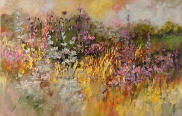 "Saatchi Art Artist Margaret Raven; Painting, ""Colorful meadow near the forest"" #art"