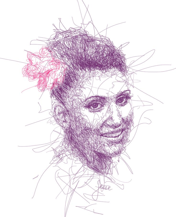 Scribble Method Drawing : Vince low portraits on behance pinterest