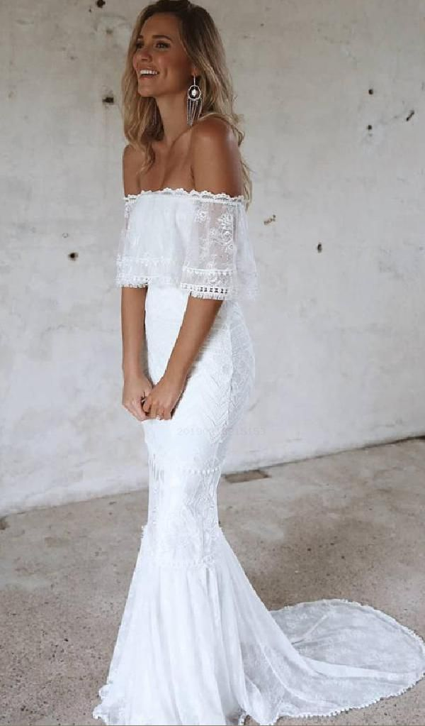 Off The Shoulder White Lace Mermaid Long Bridal Dress Dress Lace