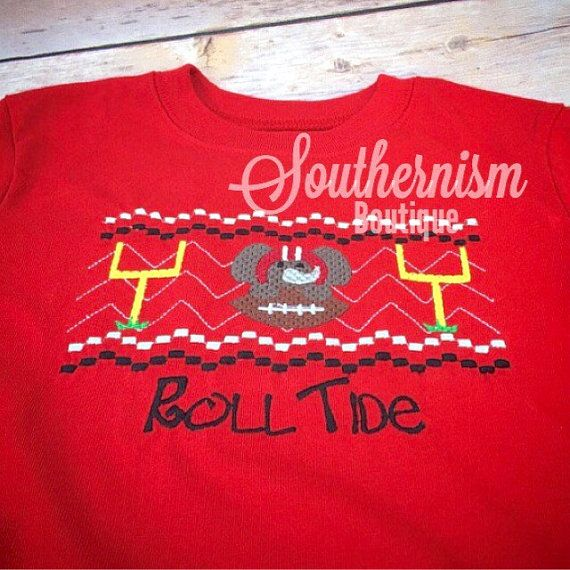 Alabama Shirt Boys Smock Smocked Alabama by SouthernismBoutique
