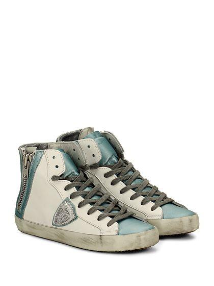 PHILIPPE MODEL PARIS - Sneakers - Donna - Sneaker in pelle con logo su lato esterno e zip su lato interno. Suola in gomma, tacco 25. - WHITE\TURQUOIS - € 216.00