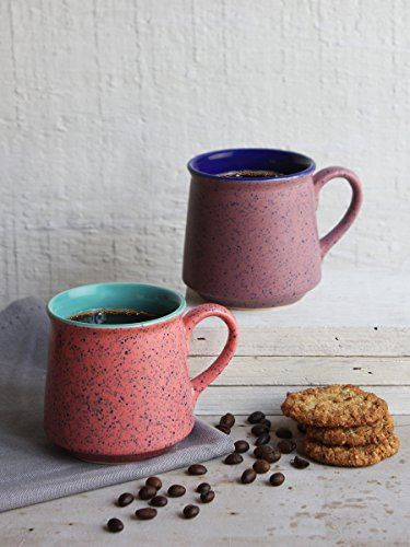 Ceramic Tea Coffee Mug Handcrafted Set of 2 Pottery Cup Custom Travel Mug with Handles Kitchen Dining Serveware Accessories