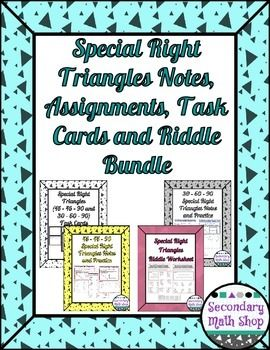 This special right triangles unit (includes 2 sets of notes, 2 homework assignments, a set of task cards and an extra practice worksheet) really helps students to see the connections.