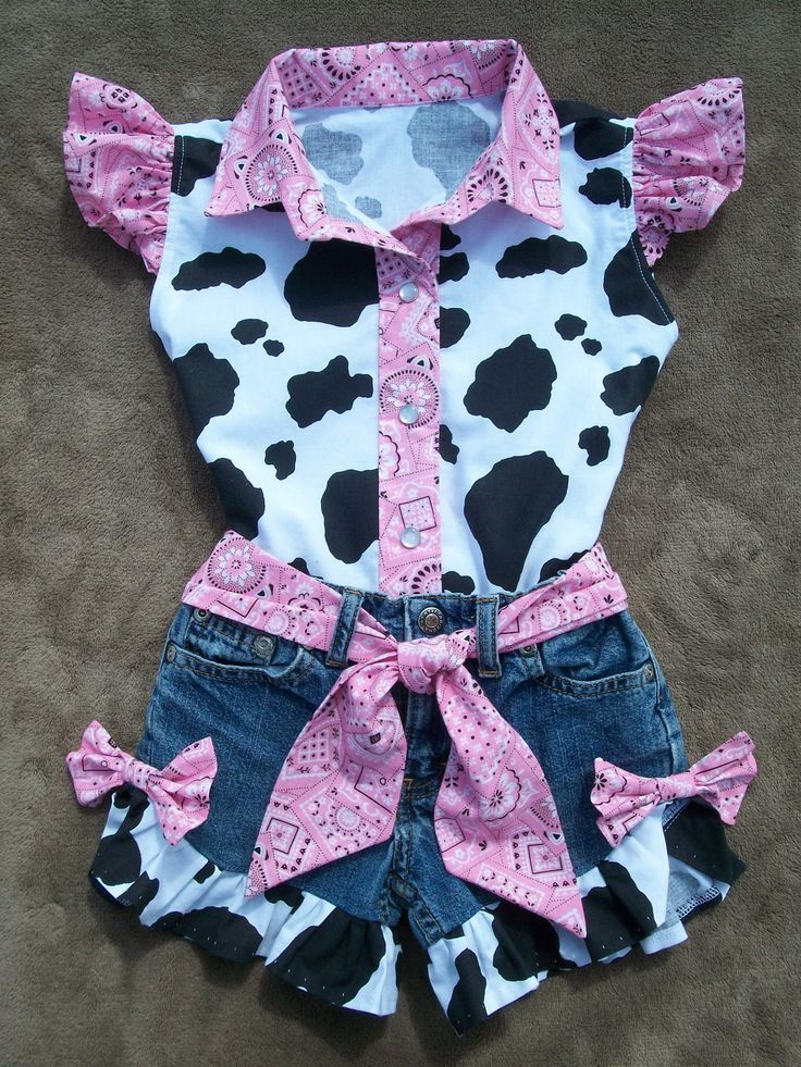 Beautiful PINK  BANDANA upcycled cowgirl  shorts outfit with custom made matching blouse. order your size. $65.00, via Etsy.