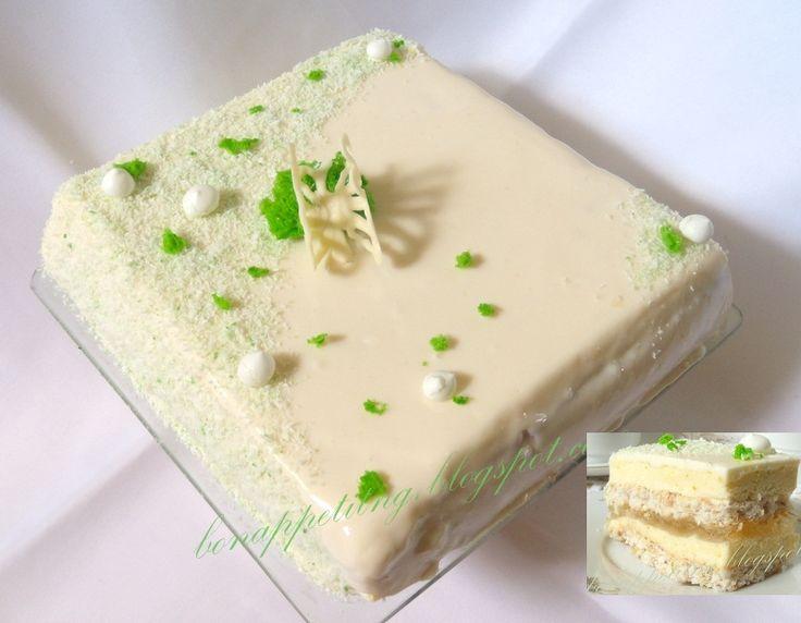 Limonkowe orzeźwienie - dakłas kokosowy, lekki mus limonkowy, galaretka limonkowa, polewa z białej czekolady - bardzo lekki, orzeźwiający, nie za słodki tort dziewczęcy