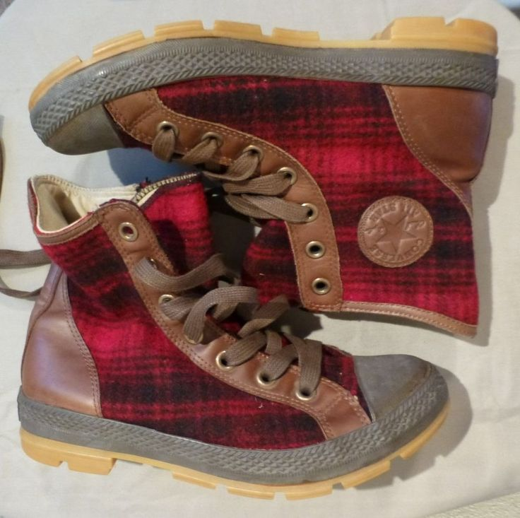 Converse All Star Hi Tops Woolrich Wool Plaid Flannel Shoes Chuck Taylors 8.5 10 #Converse