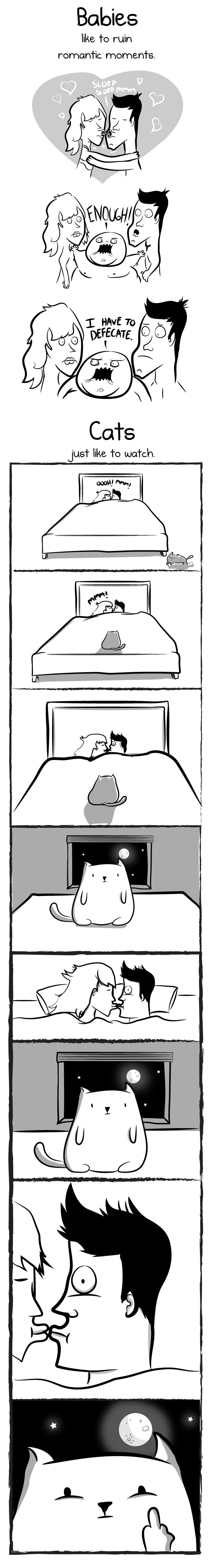 Having a baby VS having a cat - The Oatmeal