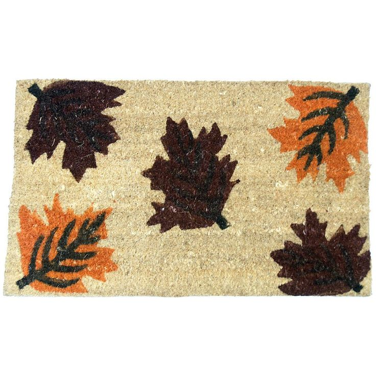 "Rubber-Cal 'Maple Leaf' Coir Outside Door Mat (18 x 30) (18"" x 30""), Brown"