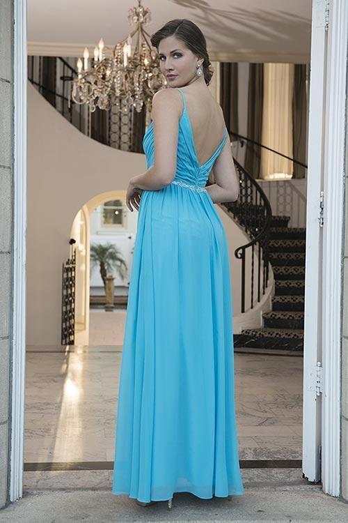 Balletts Bridal - 23769 - Bridesmaids by Venus Bridals - VBM2060 - full length spaghetti straps, pleated bodice V front/back - beaded belt