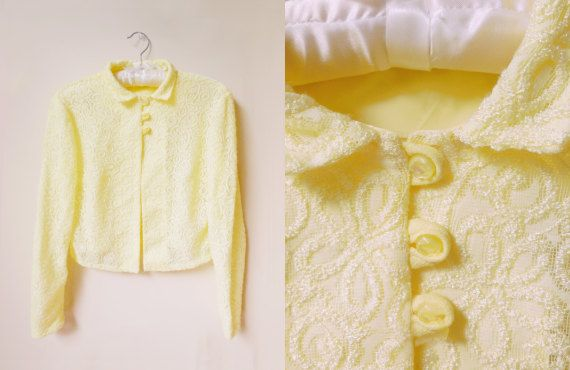 vintage 60s/70s pale yellow bed jacket by starseedvintage on Etsy