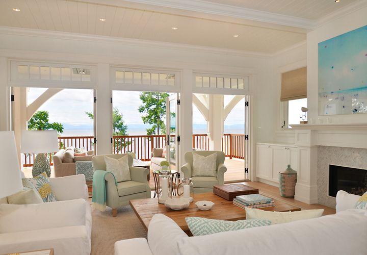 coastal living room with french doors