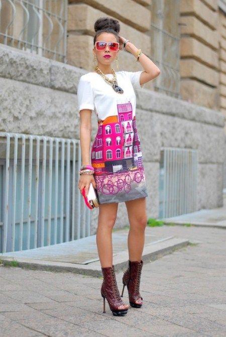 Buildings & Bikes print dress | Voor als ik ooit de gelegenheid krijg om zelf stof te bedrukken met een foto van Amsterdam <3