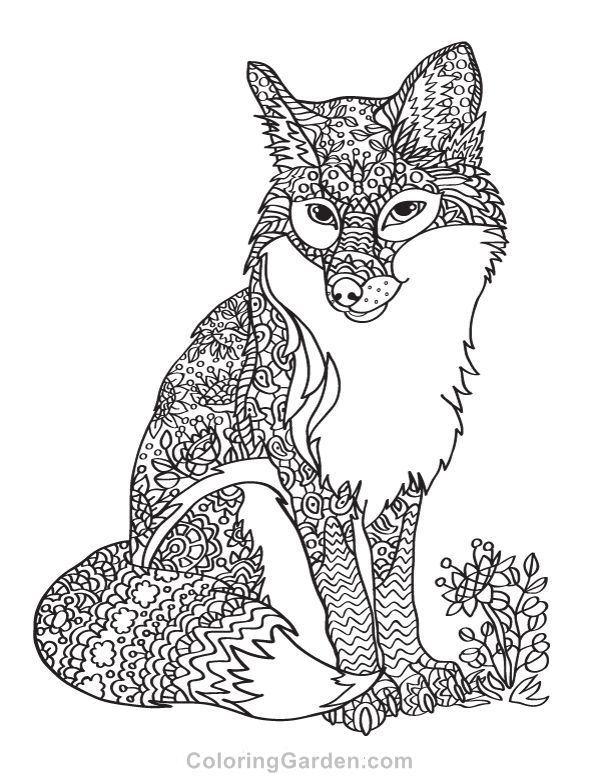 Free Printable Fox Adult Coloring Page Download It In Pdf Format