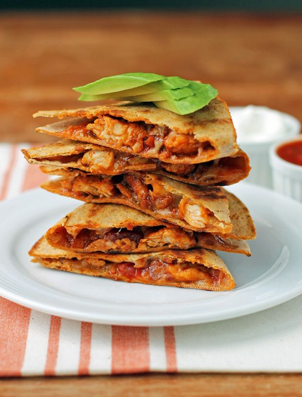 These Easy Chicken Quesadillas come together quickly with only 6 ingredients! Full of flavor and just 286 calories or 6 Weight Watchers SmartPoints each!