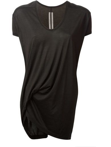 'Black silk draped top from Rick Owens featuring a v-neck, short sleeves and an asymmetric hem.'