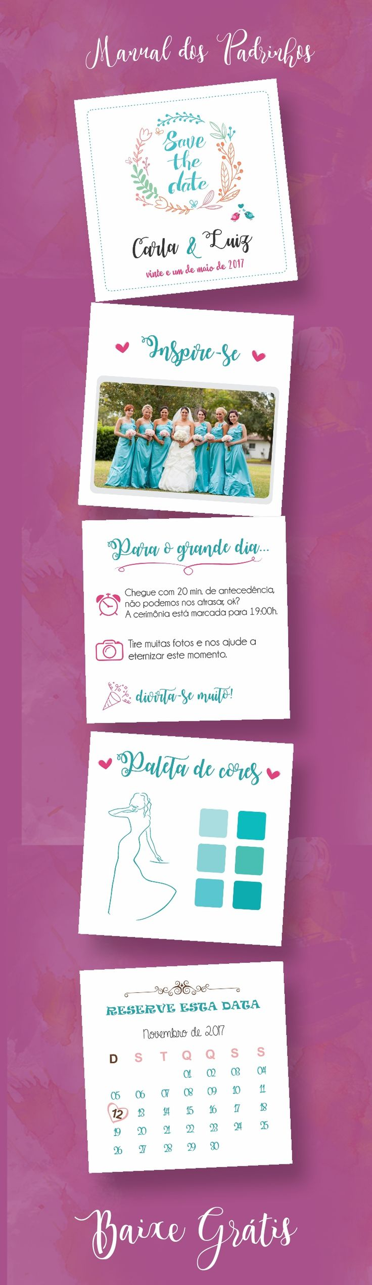Baixar Manual dos padrinhos marsala, editavel | Download Gratis - Faça voce mesmo DIY ♥