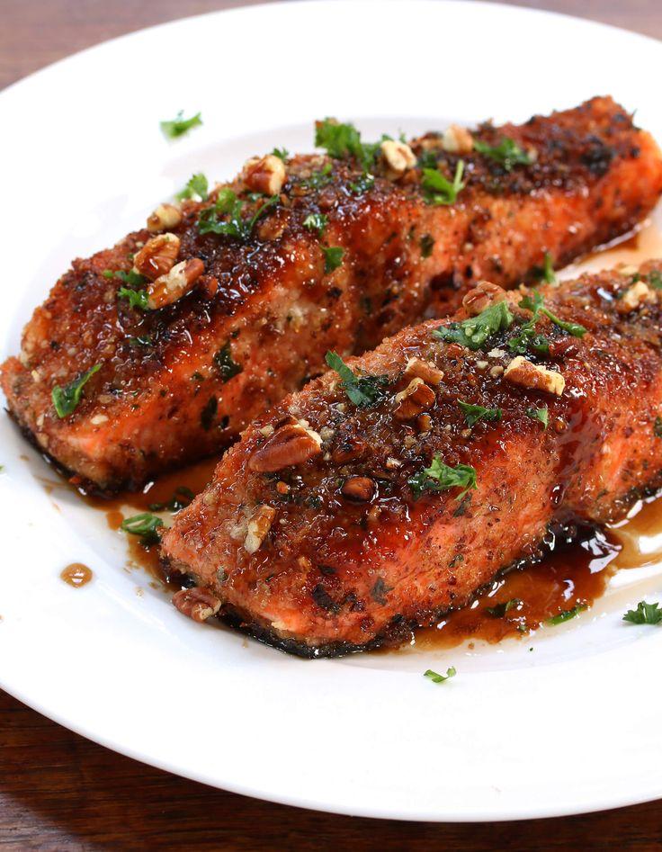Pecan-Crusted Salmon with Bacon Fat Maple Glaze.  daringgourmet.com