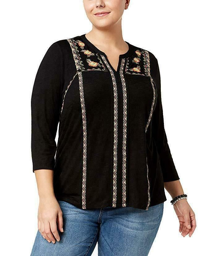 46d5bae6774bed Style & Co Floral Embroidered Tunic Top V Neck Deep Black Plus 1X NWT P4 #