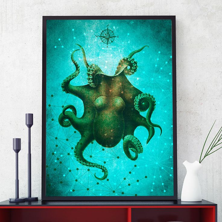 Octopus Print, Marine Wall Art Decor, Octopus Art, Ocean Poster, Octopus Painting, Coastal Decor, Home Decorations, Kids Room (N416) by PointDot on Etsy