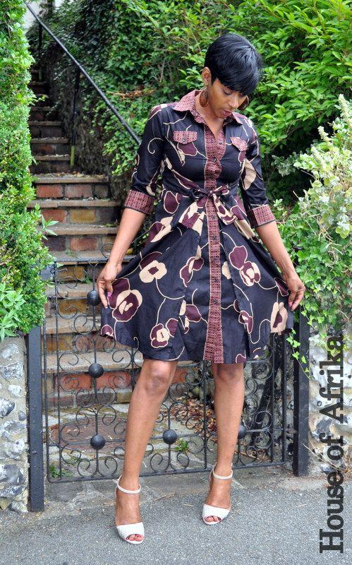 African floral print wrap shirt dress. par HouseofAfrika sur Etsy…