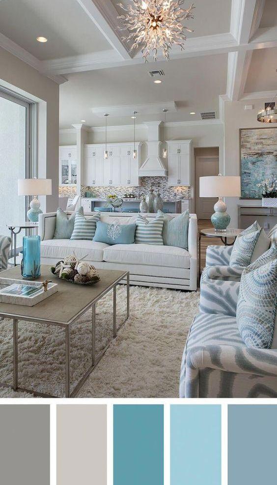 Best Cozy Chic Coastal Living Room In White Aqua Gray In 400 x 300