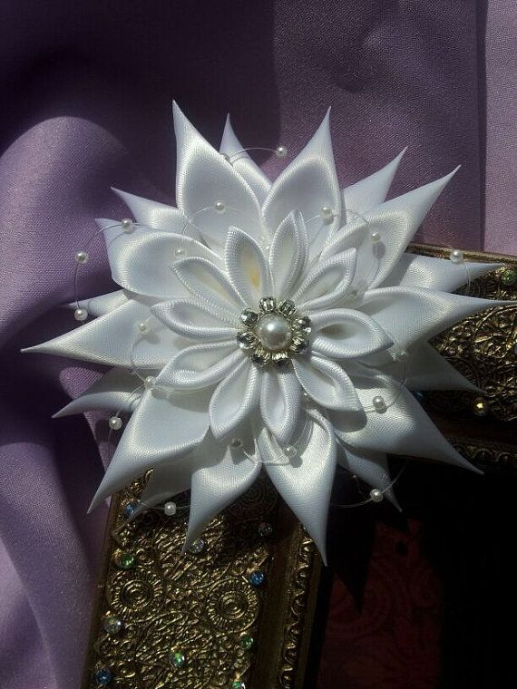 White Satin Kanzashi Flower can be attached to an by RosesBowses