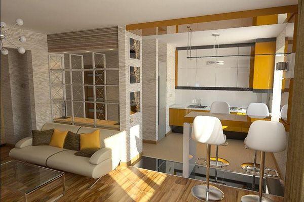 Кухня, совмещённая с гостиной и столовой в одном помещении