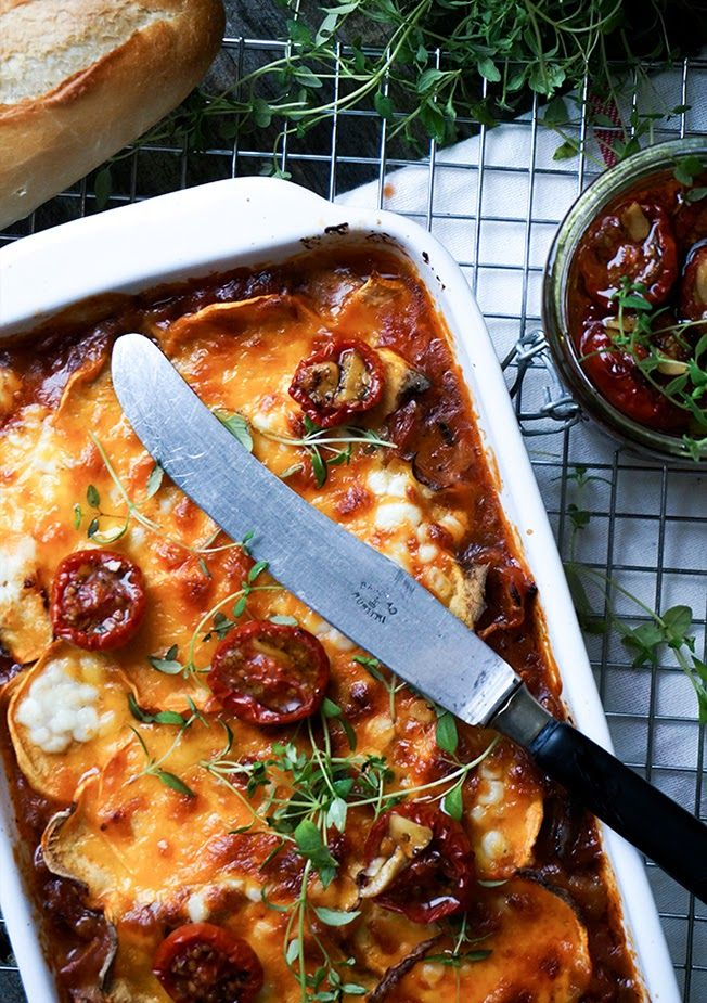 Glutenfri lasagne med svampe og søde kartofler