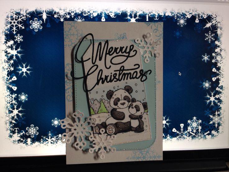 Merry Christmas pandas. Mft dies, spellbinders snow flakes, and free stamp set