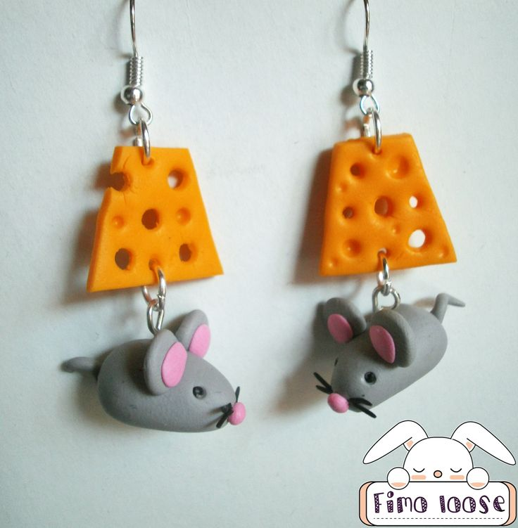 fimo polymer clay orecchini earrings mouse cheese