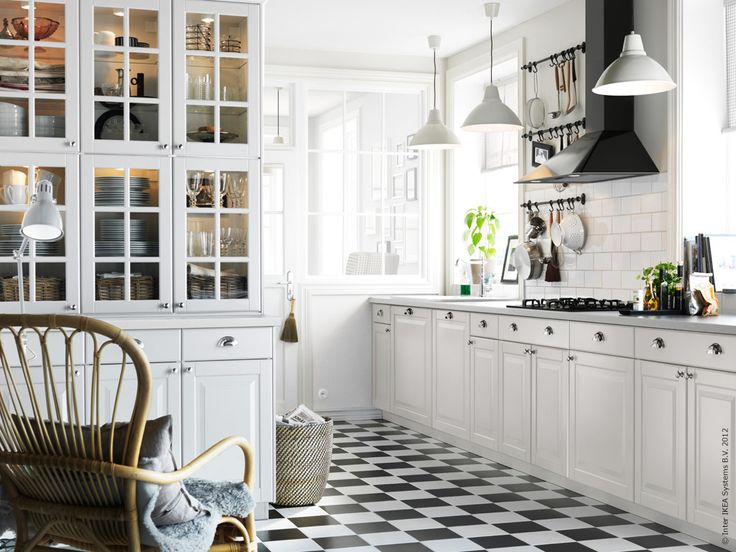 Ikea kitchen. White, black and dark grey stone, with wooden floor.. as for the adjustments ;)