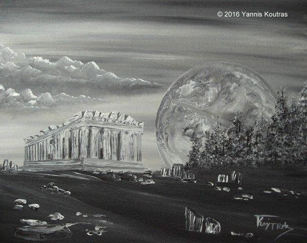"Parthenon Acropolis Black & White  Acrylic on Canvas  ""Gifts Ideas"" by YannisArt ""Yannis Koutras"""