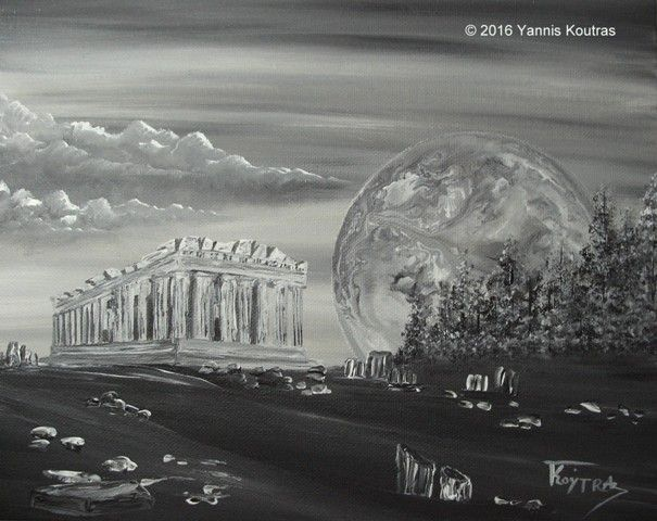 "Parthenon Acropolis Black & White  Acrylic on Canvas  ""Gifts Ideas"" by YannisArt ""Yannis Koutras"""
