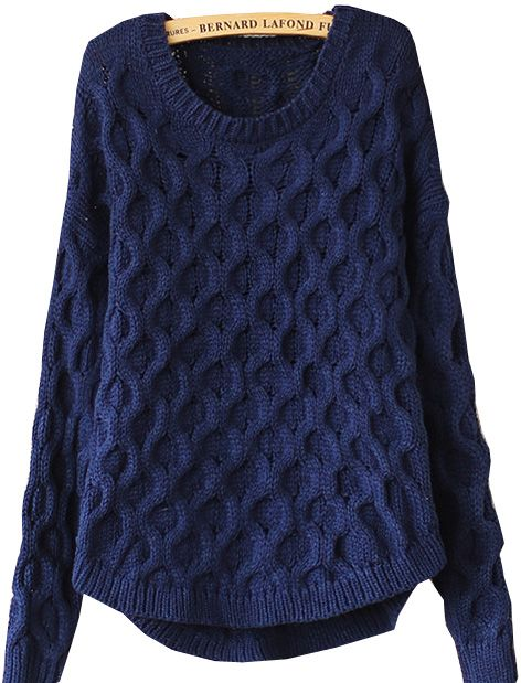 Navy Long Sleeve Cable Knit Loose Sweater GBP£20.11