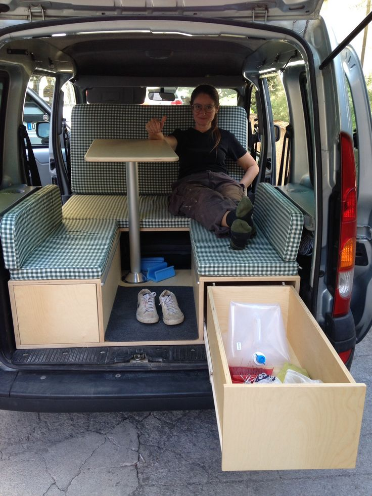 Honda Element Table >> Bench seats with table, sliding drawing / shelf for cooktop | Caravan Camper Ideas | Pinterest ...