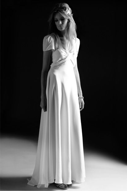 1940's Vintage style silk wedding dress in a classic forties wedding dress style with gathered sleeves and full skirt