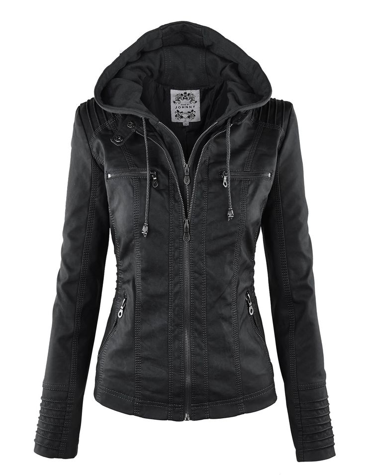 LL Womens 2-For-One Hooded Faux leather Jacket S BLACK at Amazon Women's Coats Shop
