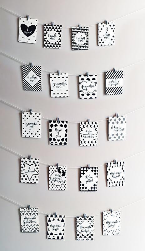 Mijlpaalkaarten Monochrome Baby Zwart Wit Mijlpaal Kaarten Milestone Cards Black White Mijlpalen Baby MamaKaart Mamakaart.nl