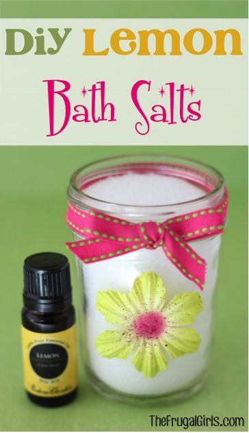 DIY Lemon Bath Salts! ~ from TheFrugalGirls.com ~ spoil yourself with a little relaxation and papering, or give some as a fun Gift in a Jar! #bathsalts #masonjars #thefrugalgirls – Connie Miller Schuh
