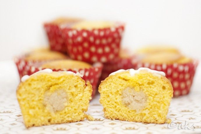 Saffron muffins with marzipan surprise.