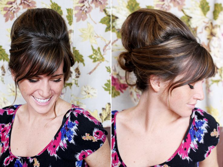 Beehive?   I LOVE THIS!!!! I do a similar style often and never thought of the loofa for help!!  I usually use jumbo Velcro rollers and then cover them with sections of my hair.  :)
