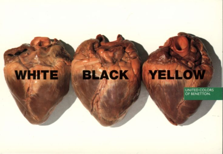 Benetton usually incorporates the use of clean typography for image captions
