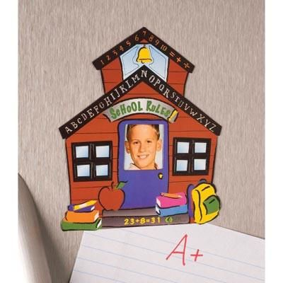 """Always have your favorite student nearby. A cute way to display a 2"""" x 3"""" picture at the office, refrigerator, or locker. 4 3/4"""" x 5 1/2"""" high. Magnet. UPC: 846"""