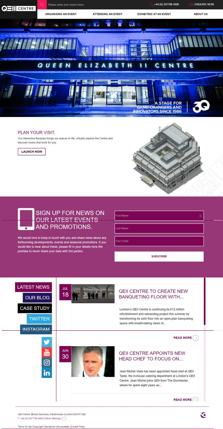 QEII Centre London website inspiration